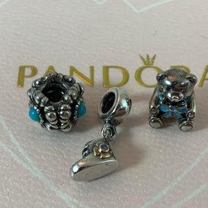 NWOT Pandora Baby Boy Set of 3 Charms